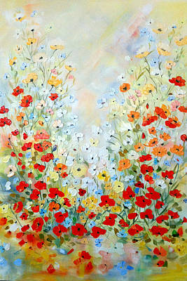 Poster featuring the painting Colorful Field Of Poppies by Dorothy Maier