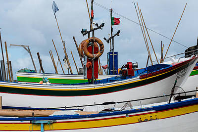 colorful fishing boat with Portuguese flag  Poster