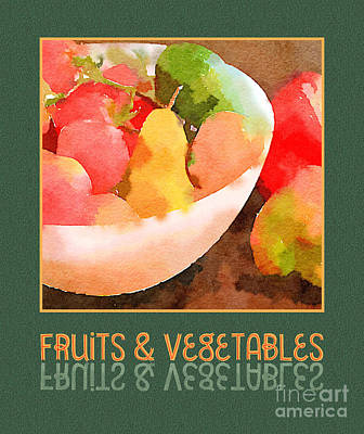 Colorful Fruits And Vegetables Digital Watercolor  Poster by Beverly Claire Kaiya