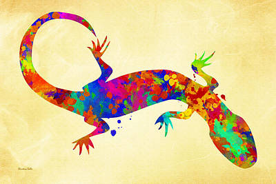 Gecko Watercolor Art Poster