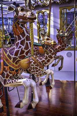 Colorful Giraffes Carrousel Poster