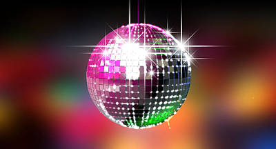 Colorful Glinting Disco Ball Poster
