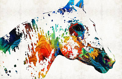 Colorful Horse Art - Wild Paint - By Sharon Cummings Poster