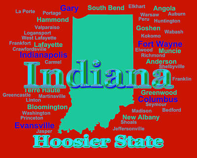 Colorful Indiana State Pride Map Silhouette  Poster by Keith Webber Jr