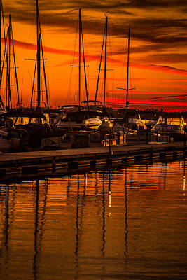 Colorful Lake Norman Sunset Poster by Serge Skiba