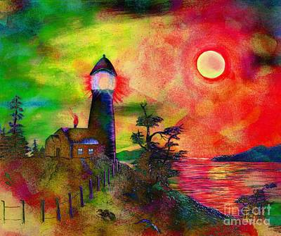 Colorful Lighthouse Scene With Textures Poster by Barbara Griffin