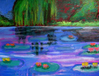 Colorful Lilly  Pad Flowers After Monet Poster by Diana Riukas