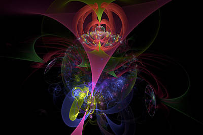 Colorful Modern Fractal Art Image On Black Background Poster