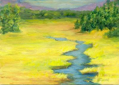 Colorful Original Landscape Painting Mountain Meadow Poster
