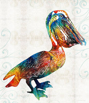 Colorful Pelican Art 2 By Sharon Cummings Poster