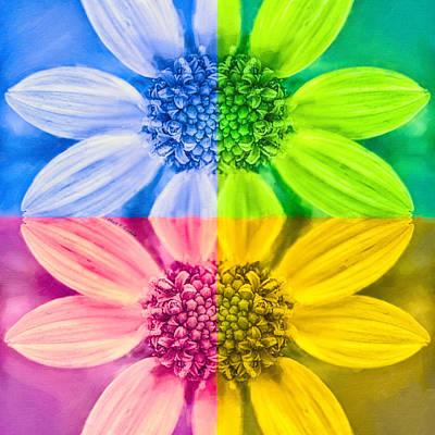 Colorful Porter's Sunflower - Pop Art Poster by Mark E Tisdale