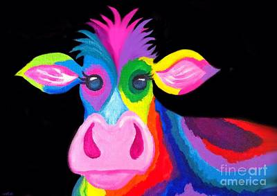 Colorful Rainbow Cow Poster by Nick Gustafson