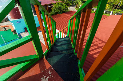Colorful Red And Green Staircase Poster