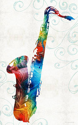 Colorful Saxophone 3 By Sharon Cummings Poster by Sharon Cummings