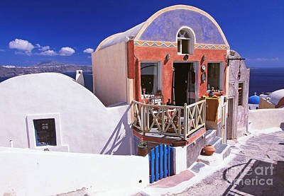 Colorful Shops In Oia Poster