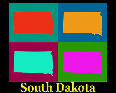 Colorful South Dakota Pop Art Map Poster