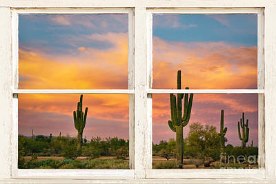 Colorful Southwest Desert Rustic Window Art View Poster