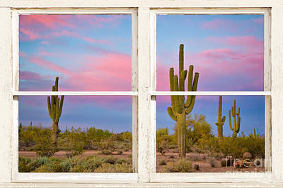 Colorful Southwest Desert Window Art View Poster