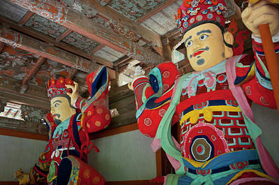 Colorful Statues At The Buddhist Poster by Michael Runkel