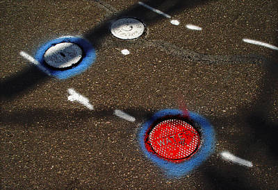 Colorful Storm Drain Covers And White Poster