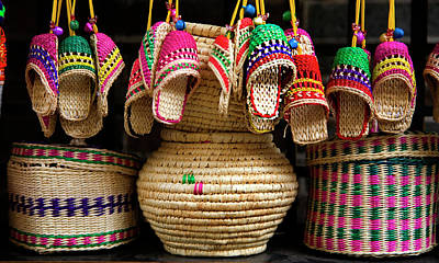 Colorful Straw Baskets, Shoes And Other Poster