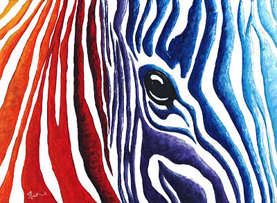 Colorful Stripes Original Zebra Painting By Madart Poster by Megan Duncanson