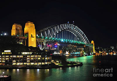 Colorful Sydney Harbour Bridge By Night 3 Poster by Kaye Menner
