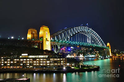 Colorful Sydney Harbour Bridge By Night Poster