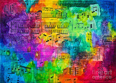 Poster featuring the mixed media Colorful Symphony by Melissa Sherbon