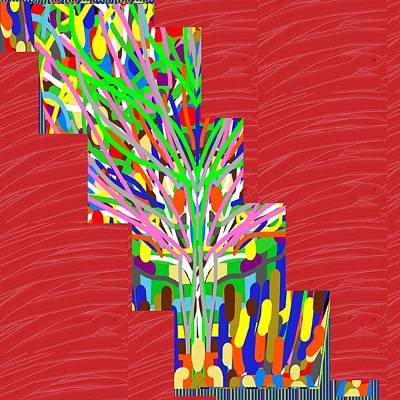 Poster featuring the photograph Colorful Tree Of Life Abstract Red Sparkle Base by Navin Joshi