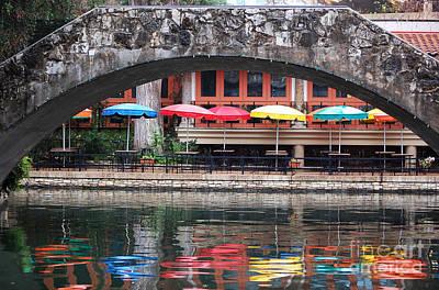 Colorful Umbrellas Reflected In Riverwalk Under Footbridge San Antonio Texas Poster