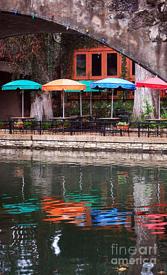 Colorful Umbrellas Reflected In Riverwalk Under Footbridge San Antonio Texas Vertical Format Poster by Shawn O'Brien