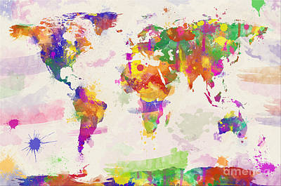 Colorful Watercolor World Map Poster by Zaira Dzhaubaeva