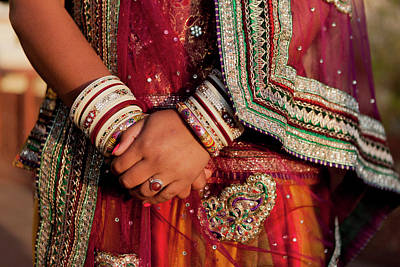 Colorful Wedding Costumes And Sari Poster by Tom Norring