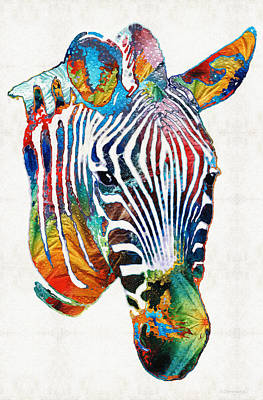 Colorful Zebra Face By Sharon Cummings Poster