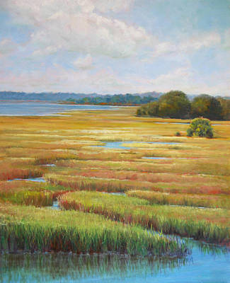 Poster featuring the painting Colors In The Marsh by Pam Talley