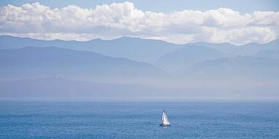 Colors Of Alaska - Sailboat And Blue Poster