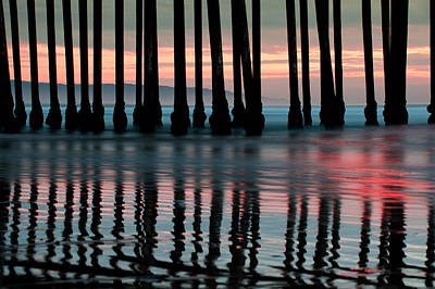 Poster featuring the photograph Reflections Under The Pier - Pismo Beach California by Gregory Ballos