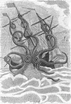 Colossal Octopus Attacking Ship, 1801 Poster by Photo Researchers