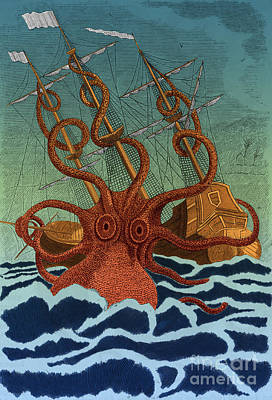 Colossal Octopus Attacking Ship 1801 Poster by Science Source