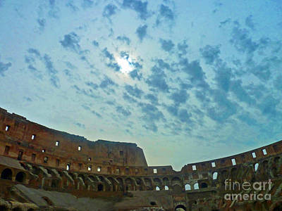 Poster featuring the photograph Colosseum At Dusk - Rome by Cheryl Del Toro