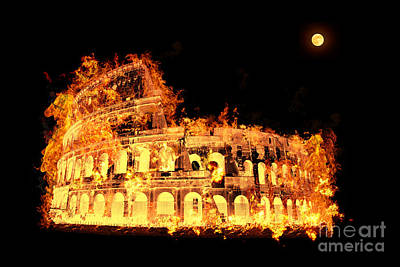 Colosseum On Fire Poster by Image World