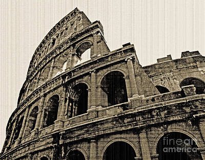 Poster featuring the photograph Colosseum Rome - Old Photo Effect by Cheryl Del Toro