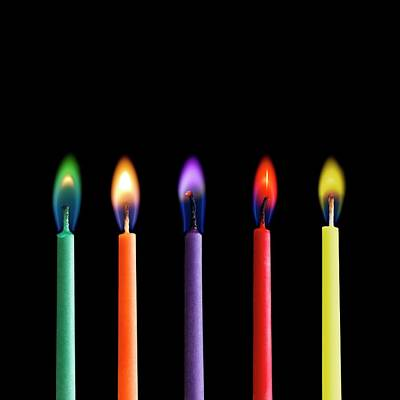 Coloured Candle Flames Poster by Science Photo Library
