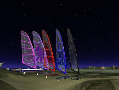 Poster featuring the digital art Coloured Sails by Susanne Baumann