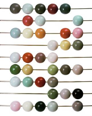 Colourful Beads On Metal Rods Poster by Herbert Matter