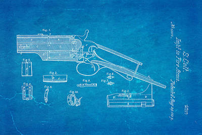 Colt Pistol Patent Art 1839 Blueprint Poster