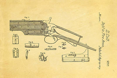 Colt Pistol Patent Art 1839 Poster by Ian Monk