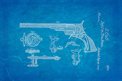 Colt Pistol Patent Art  3 1839 Blueprint Poster