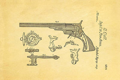 Colt Pistol Patent Art  3 1839  Poster by Ian Monk